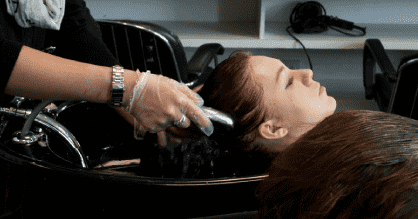 Hair being washed in salon